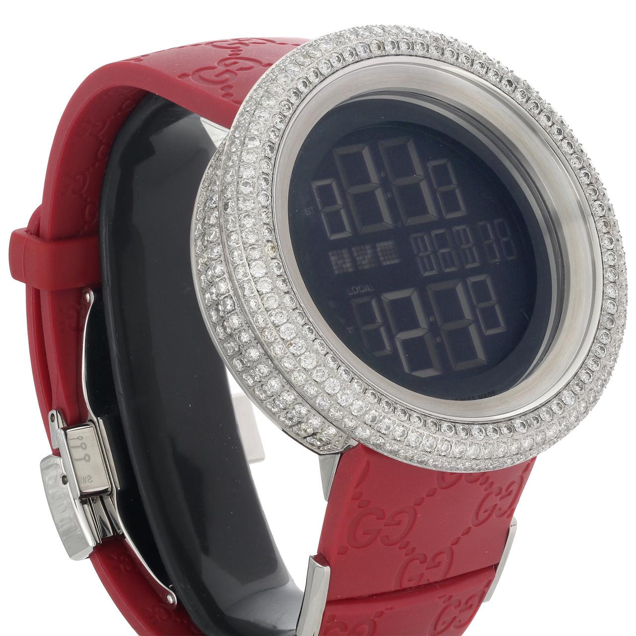 71c8ba4b4ea ... Mens Custom Full Case Digital Red I-Gucci YA114212 Genuine Diamond Watch  9 CT. Image 1