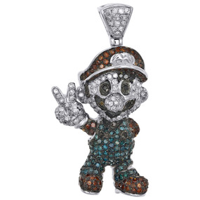 "10K White Gold Red & Blue Diamond Mario Bros. Pendant 1.45"" Pave Charm 1.62 CT."