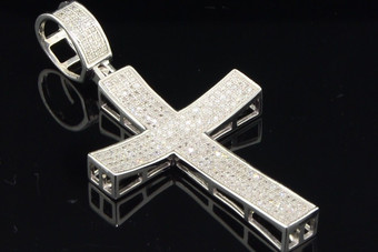 .925 Sterling Silver Round Cut Pave Set Diamond Cross Pendent 1 Ct.