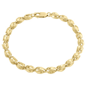 10K Yellow Gold 4.75mm 3D Turkish Rope Link Milgrain Diamond Cut Bracelet 8 Inch