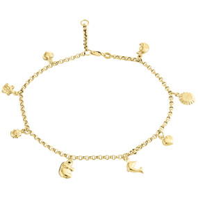 10K Yellow Gold 2.50mm Rolo Link Turtle Moon Elephant Heart Sun Charm Anklet 10""