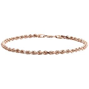 "10K Rose Gold Semi Solid Diamond Cut Rope Link Bracelet 3mm Lobster Clasp 8.25"""