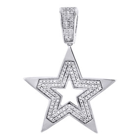 10K White Gold 5 Point Diamond Star Pendant Mini Fashion Pave Charm 0.59 Tcw.