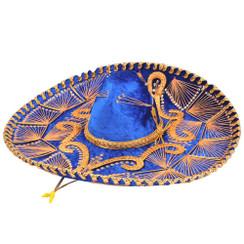 Sombrero Charro de Terciopelo Decorado - Azul y Oro -  RRIMP-71151