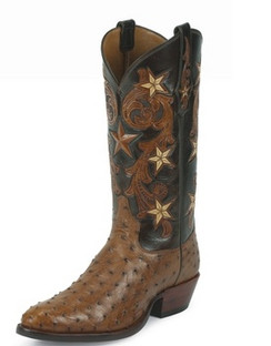 Tony Lama Men Boots - Signature Series - Brandy Cowboy Classic Ostrich - 1003