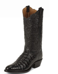 Tony Lama Men Boots - Signature Series - Black Belly Antique Caiman - 1001
