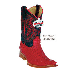 Los Altos Kid Boots - Caiman Tail - 3X Toe - Red - RR-450112