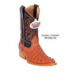 Los Altos Kid Boots - Caiman Tail - 3X Toe - Cognac - RR-450103