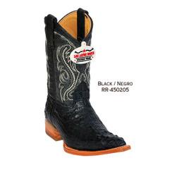 Los Altos Kid Boots - Horback Caiman - 3X Toe - Black - RR-450205