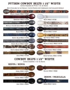 """Wild West - Original Python Cowboy Belts - 1 1/2"""" width"""