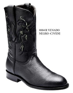 Cuadra Boots - Deer Leather - Roper - Black - RRC3VENIBK