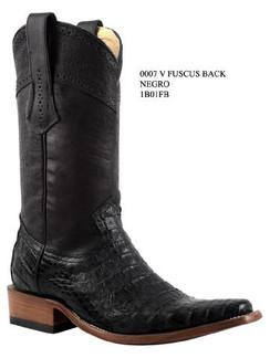Cuadra Boots - Full Fuscus Caiman Belly - Versace Toe - Black - RR1B01FBBK