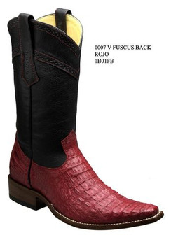 Cuadra Boots - Full Fuscus Caiman Belly - Versace Toe - Red