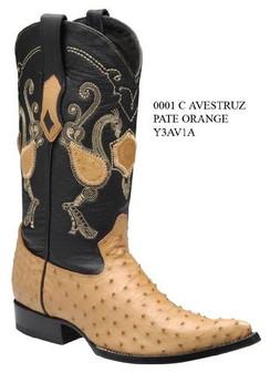 Cuadra Boots - Full Quill Ostrich - Chihuahua Toe - Patte Orange