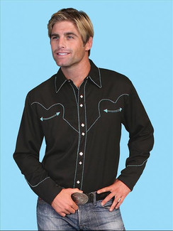 Scully Shirt -Black with Turquoise - P634