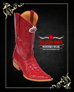 Los Altos Boots - 3x Toe - Caiman Tail - Red