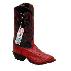 Red - Tony Lama Full Quill Ostrich Boot - J-Toe
