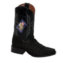 Black - Tony Lama Ostrich Boot - HMI French Toe