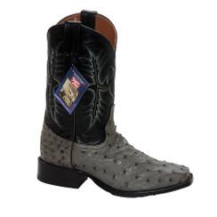 Gray - Tony Lama Ostrich Boot - HMI French Toe