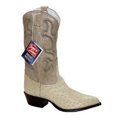 Winter White - Tony Lama Full Quill Ostrich Boot - J-Toe