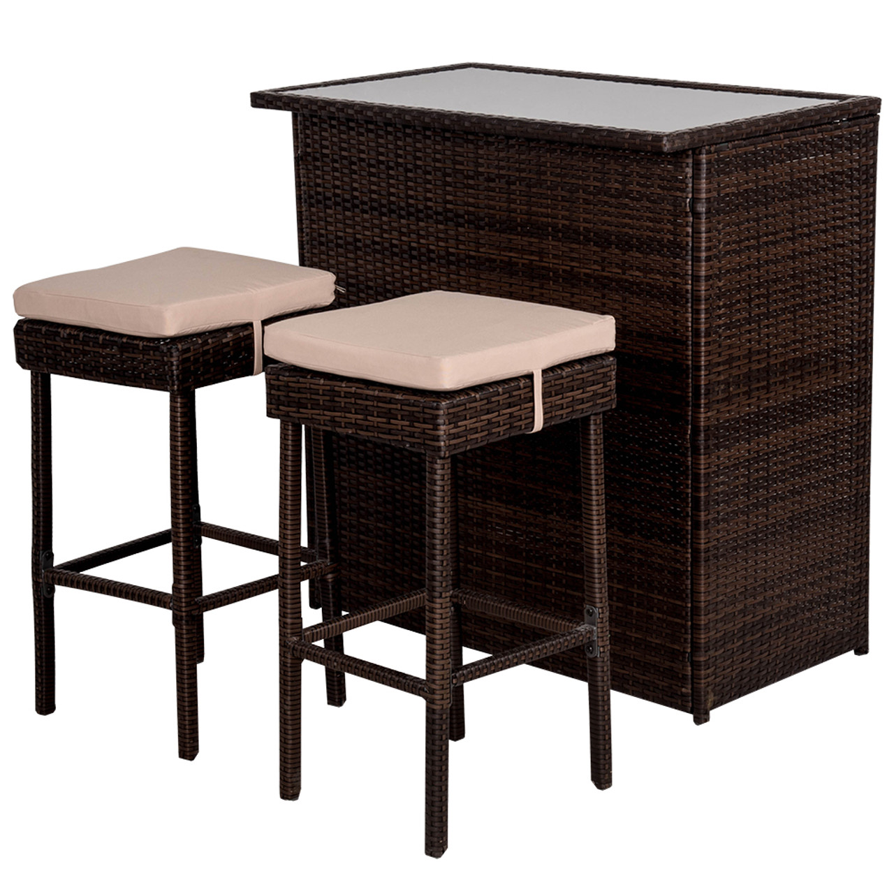 Deluxe 3pc Rattan Wicker Bar Set With Cushions Bar And 2