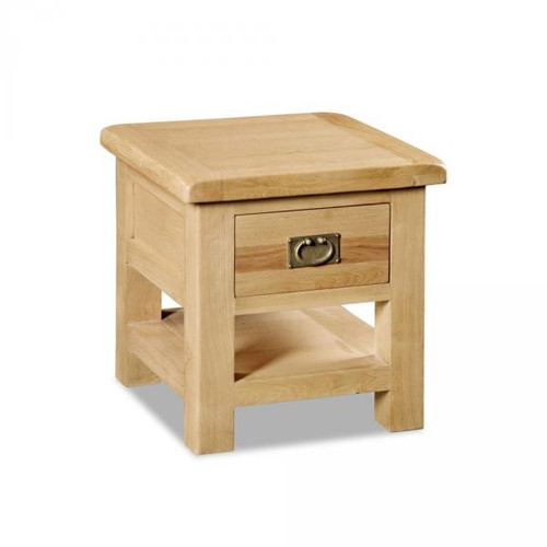 Salisbury oak lamp table with drawer ideal furniture an extensive collection of hand crafted rustic oak furniture this range has all the attributes aloadofball Images
