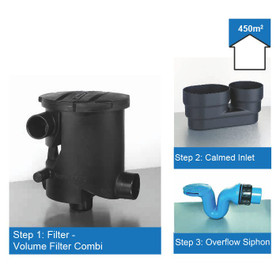 Rainwater Harvesting Filter Kit for roof areas up to 450m2. The Volume Filter has the outlet to Rainwater Storage at the base of the Unit.
