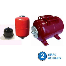 Pressure Vessels (Expansion Vessels) in various sizes from 300ml to 50L, Horizontal or Vertical.