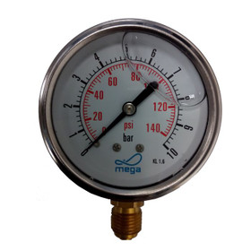 "Filled Pump Pressure Gauge. 1-10 bar, bottom 0.25"" threaded connection."