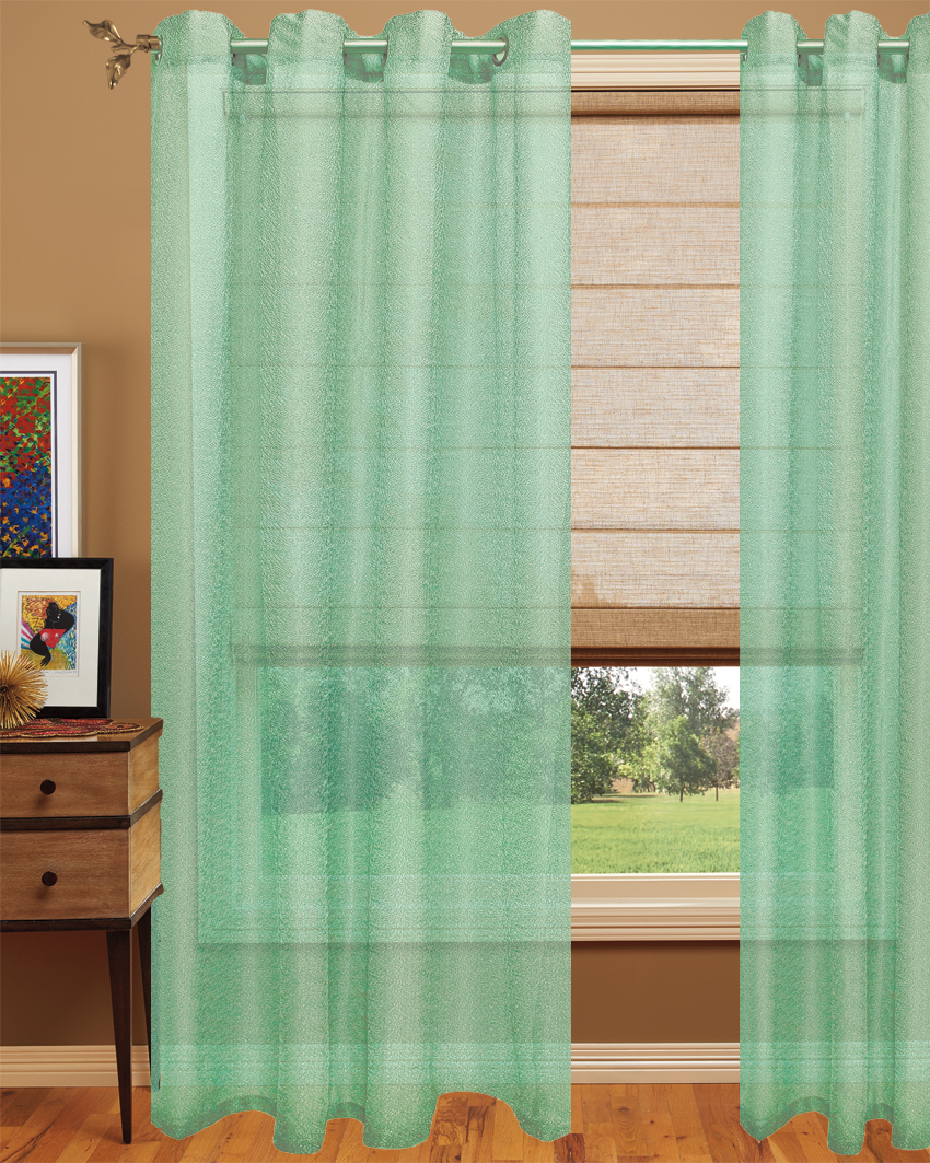 Semi sheer curtain modern look and simple plain elegant for Green modern curtains