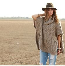 Elan Taupe Cowl Neck Cable Knit Poncho