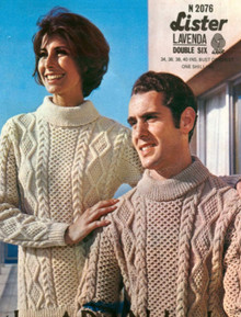 Vintage Aran His and Hers Large Collar Sweaters