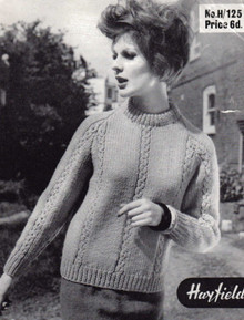Vintage Aran Ladies Round Neck Sweater