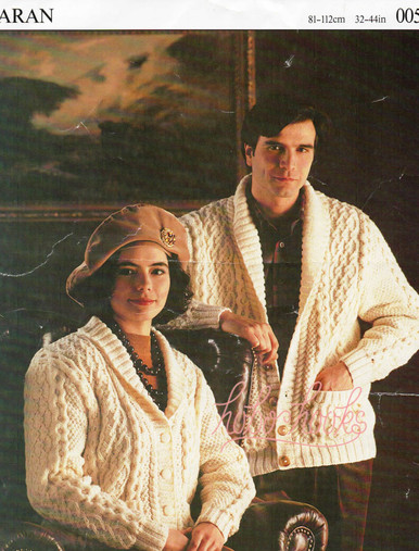 Vintage His and Her Aran Collar Cardigans
