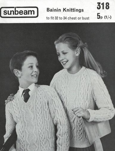Vintage Childrens V-Neck and Roundneck Aran Sweater