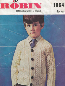 Vintage Childrens Aran Cardigan