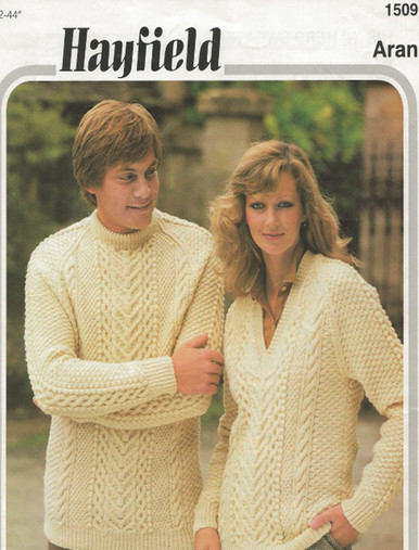 Vintage Unisex Crew and V-Neck Aran Sweaters