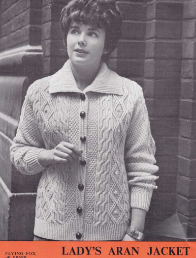 Ladies Vintage Aran Jacket with Buttons