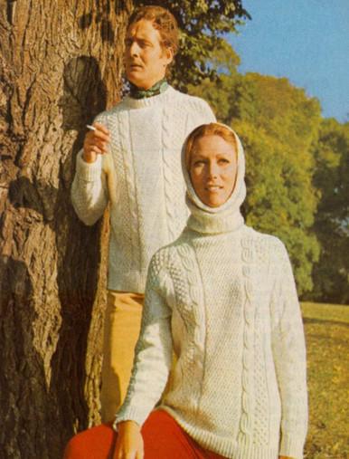 Unisex Vintage Aran Sweater with Hood