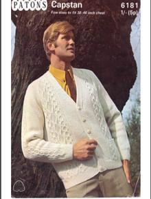 Mens VIntage 1960's Aran Cardigan