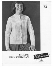 Children's Vintage Roundneck Aran Cardigan