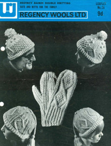 Vintage Unisex Aran Hat and Mitts