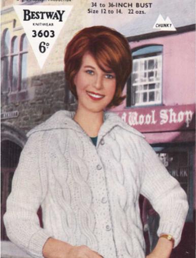 Vintage Ladies Chunky Collar Cardigan