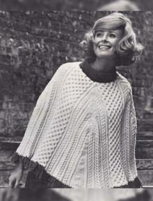 Ladies Vintage Aran Poncho