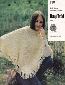 Vintage Ladies Aran Poncho with Fringes