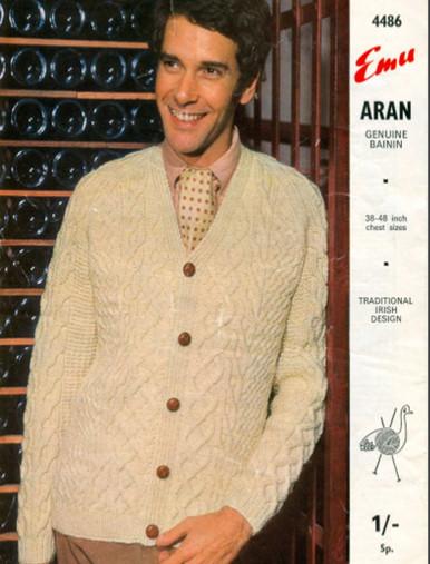 Vintage Men's Bainín V-Neck Cardigan