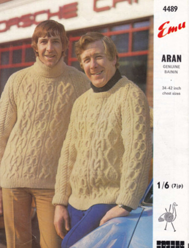 Vintage Mens Cable Crew & Turtleneck Sweater