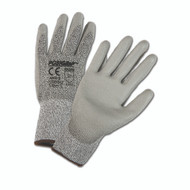 GRAY PU PALM COATED SPECKLE HPPE GLOVES 12 PAIR PER CASE