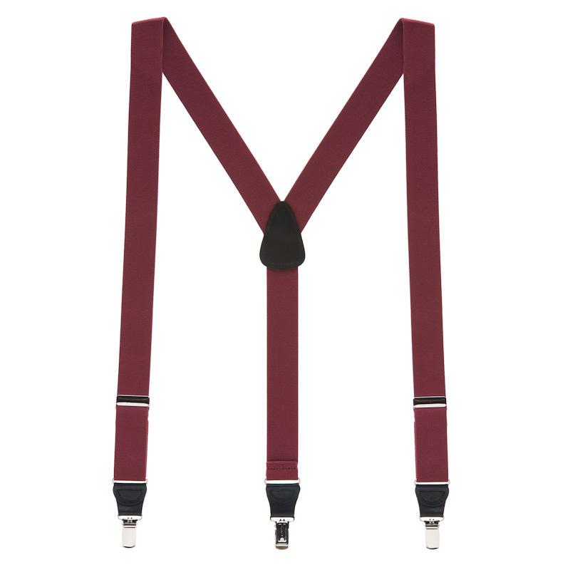 Full view of burgundy suspenders