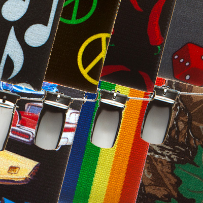 Variety of brightly colored suspenders